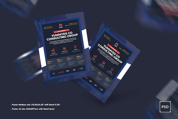 Cover Image For Case Study Poster PSD Template