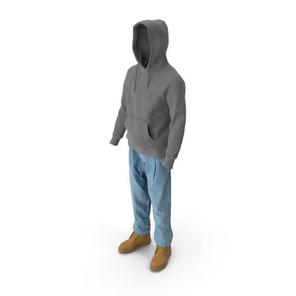 Мужские сапоги джинсы футболка с капюшоном