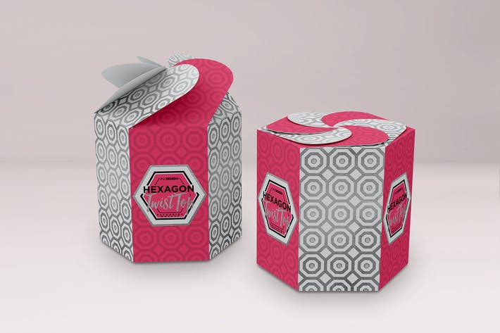 Thumbnail for Hexagon Twist Top Candy Gift Box Packaging Mock Up