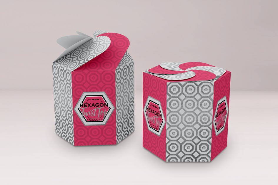 Download Hexagon Twist Top Candy Gift Box Packaging Mock Up by ina717