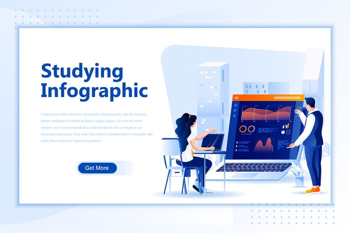 Thumbnail for Studying Flat Landing Page Header