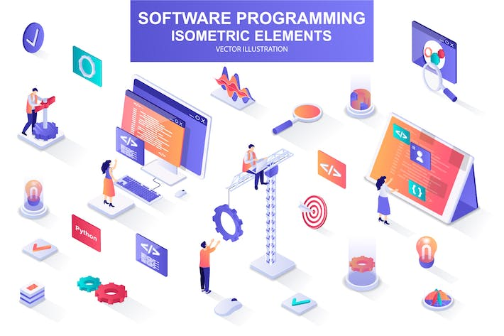 Software Programming Isometric Design Elements