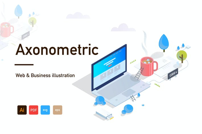 Thumbnail for Axonometric Web and Business illustration-02