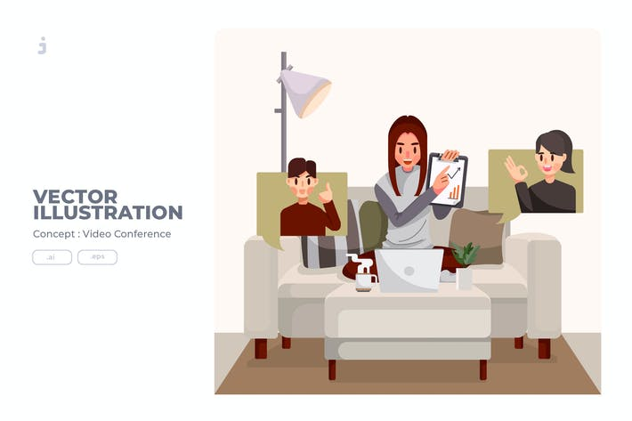 Thumbnail for Video Conference - Vector Illustration