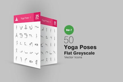 50 Yoga-Posen Flache Graustufen-SyIcons