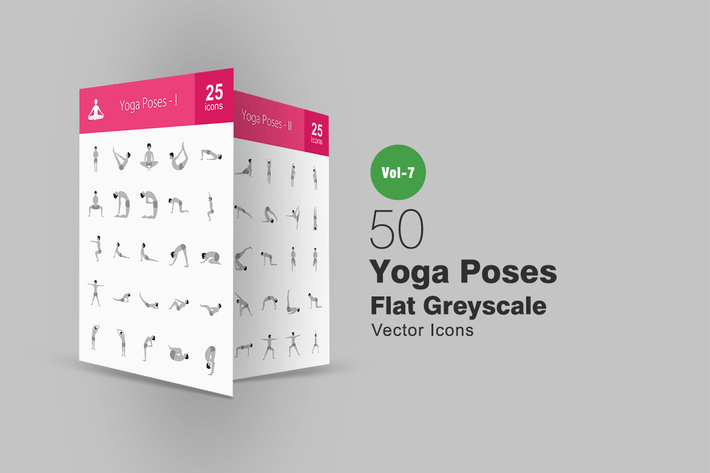 Thumbnail for 50 Yoga Poses Flat Greyscale Icons