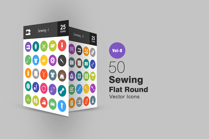 Thumbnail for 50 Sewing Flat Round Icons