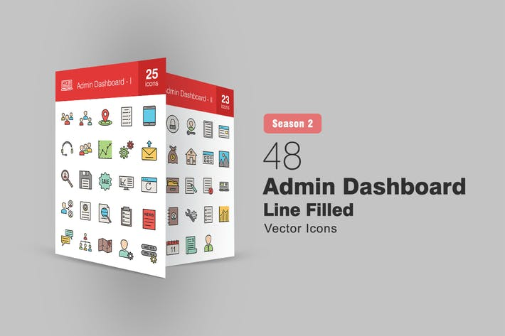 Thumbnail for 48 Admin Dashboard Filled Line Icons Season II