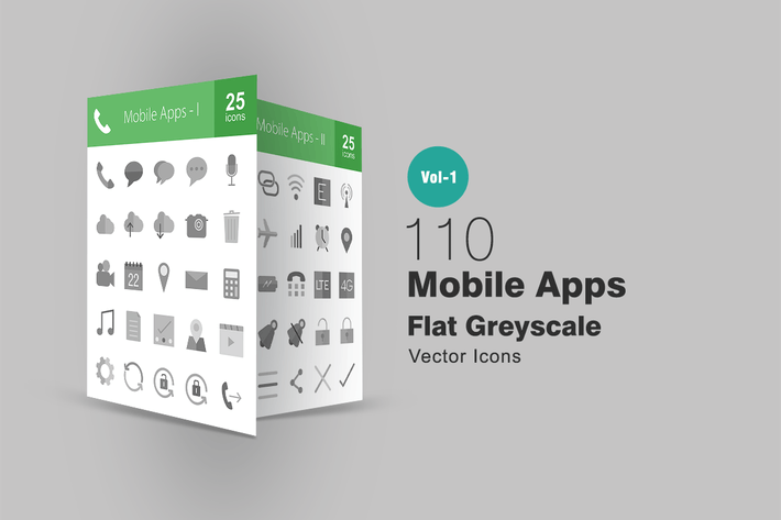 Thumbnail for 110 Mobile Apps Greyscale Icons