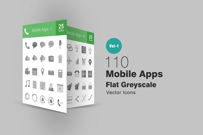 Thumbnail for 110 Applications mobiles Icones en niveaux de gris