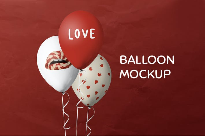 Celebration balloons mockup psd white and red