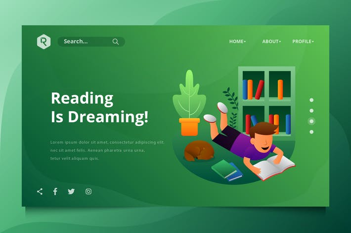 Thumbnail for Reading The Book Web Header Vector Template