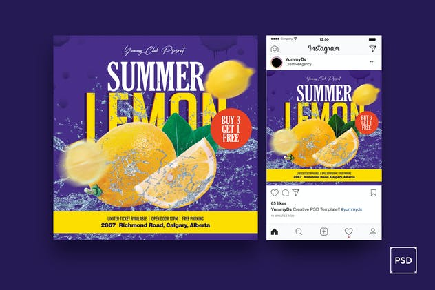 Summer Drinks Square Flyer & Instagram Post