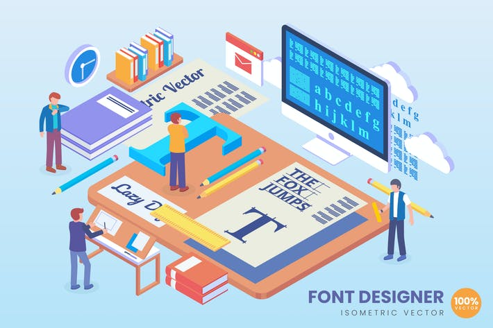 Thumbnail for Isometric Font Designer Vector Concept