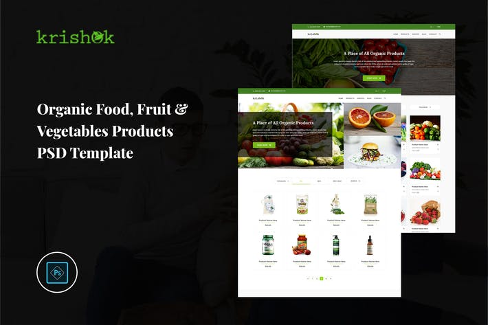 Thumbnail for Krishok - Organic Vegetables Products PSD Template