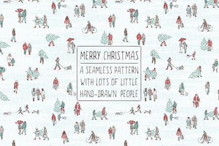 Kleine Menschen, die Weihnachtsbäume tragen