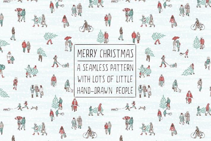 Gente pequeña llevando árboles de Navidad