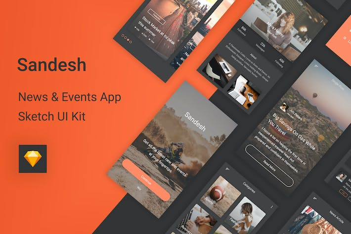 Thumbnail for Sandesh - News & Events Sketch UI Kit