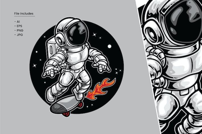 Astronauten-Skateboard-Illustration