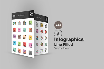 40 Infographics Line Filled Icons