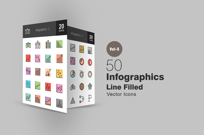 Thumbnail for 40 Infographics Line Filled Icons