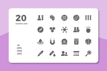 20 Science Icons (Solid)