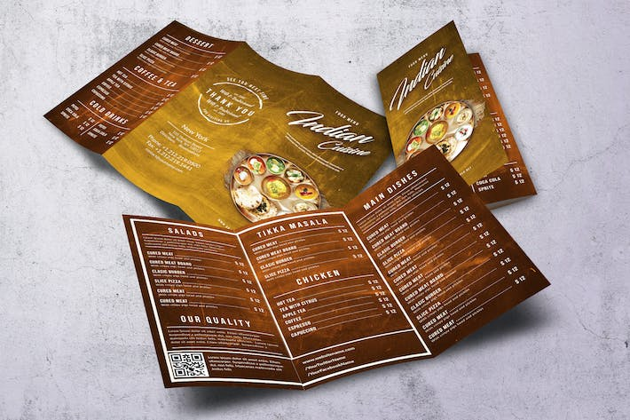 Thumbnail for Indian Cuisine A4 & US Letter Trifold Menu