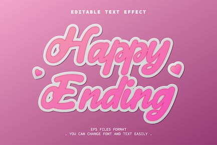happy ending text effect