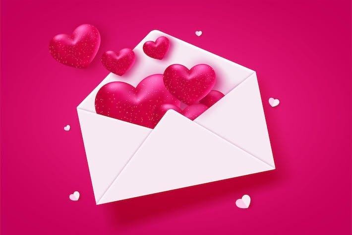 Сердца Валентина на красном фоне