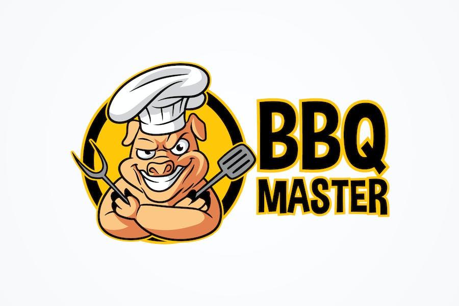 BBQ Master - Barbecue Pig Character Mascot Logo