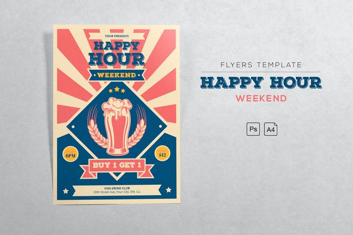 Thumbnail for Happy Hour Retro Flyers