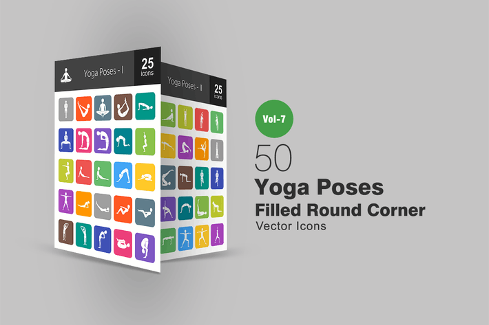 Thumbnail for 50 Yoga Poses Filled Round Corner Icons