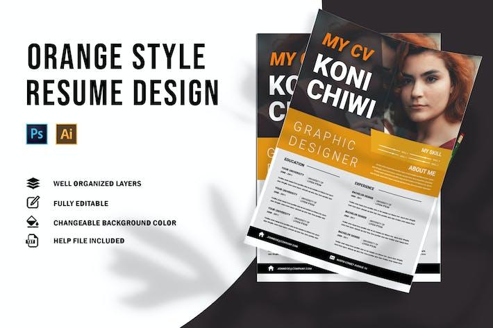 Thumbnail for Orange Style   CV & Resume