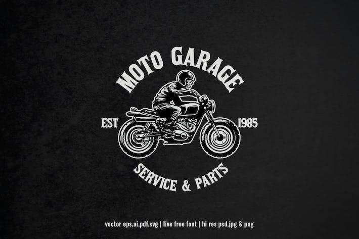 vintage skull motorcycle rider logo