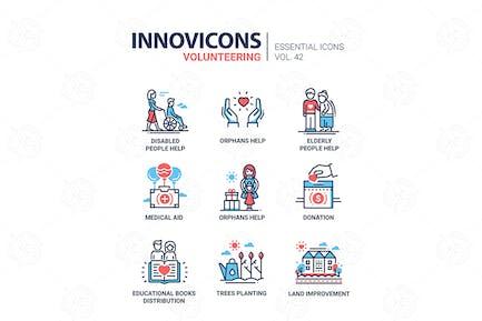 Voluntariado - Kit de Íconos de Diseño de línea Vector Moderno