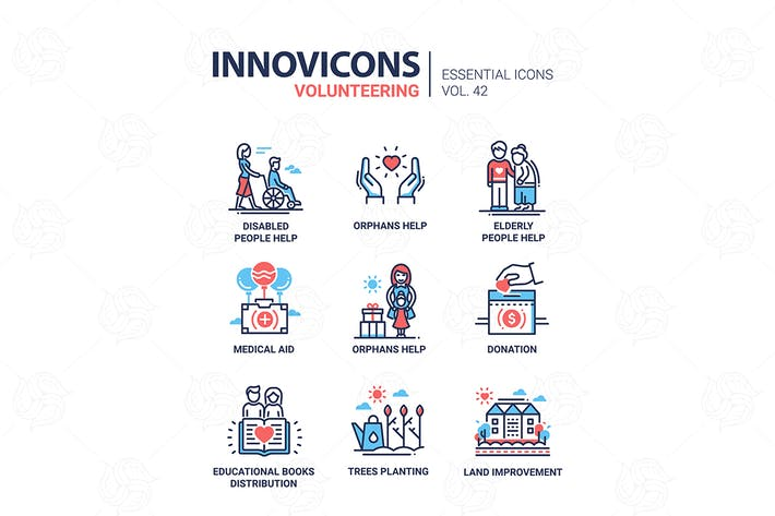 Thumbnail for Volunteering - modern vector line design icons set