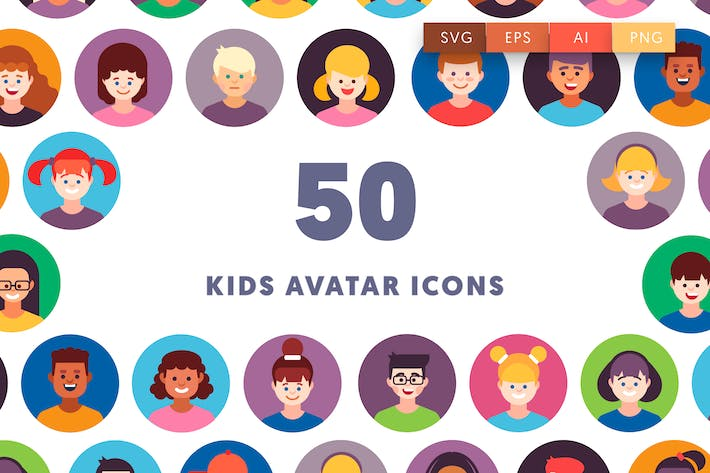 Thumbnail for 50 Kids Avatar Icons