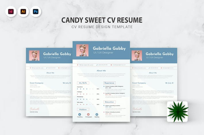 Thumbnail for Candy Sweet CV Resume