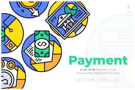 20 Payment Colorline Circular Icon set