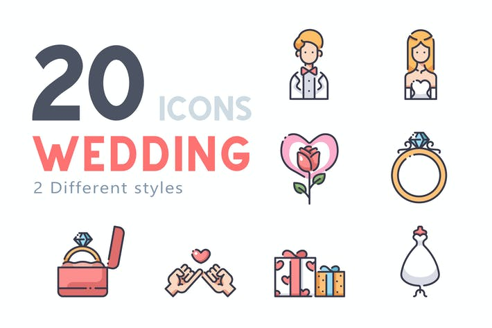Thumbnail for 20 Wedding icon set