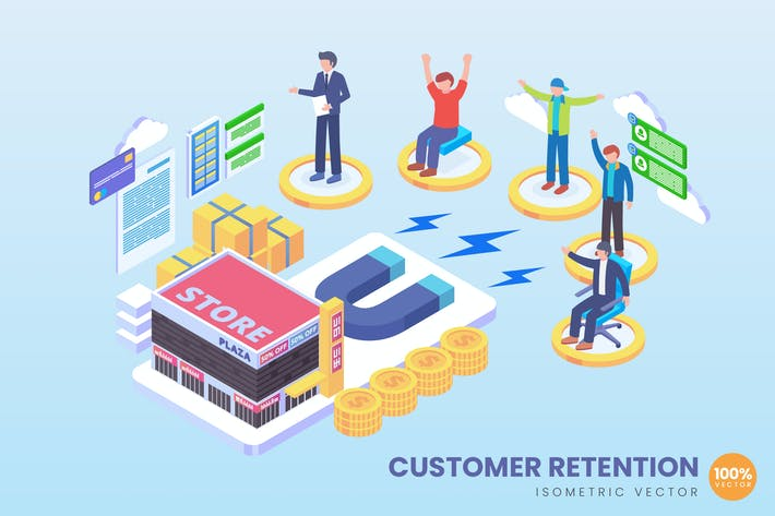 Thumbnail for Isometric Customer Retention Vector Concept