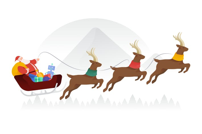 Thumbnail for Santa Riding Sleigh Vector Illustration