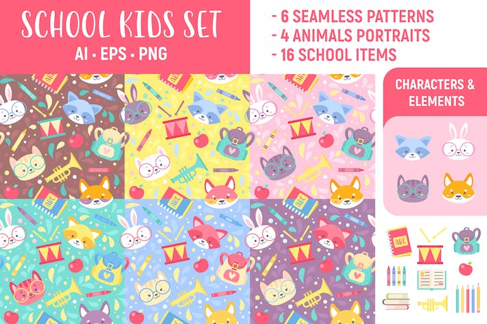 Thumbnail for School Kids Set: Seamless Patterns & Elements