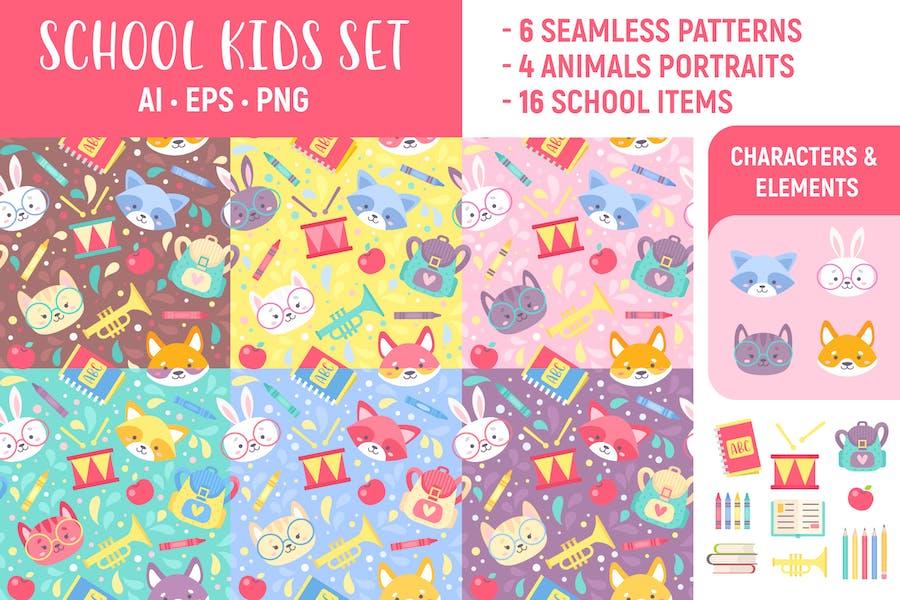 School Kids Set: Seamless Patterns & Elements