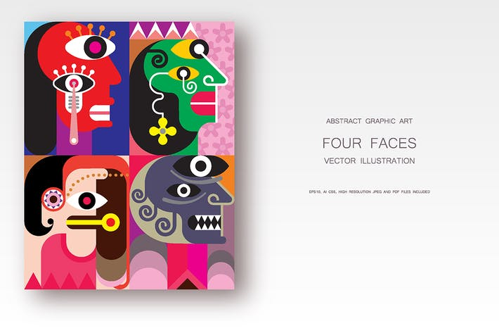 Thumbnail for Four Faces / Facial Expression vector illustration