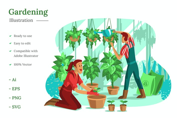 Gartenarbeit Illustration