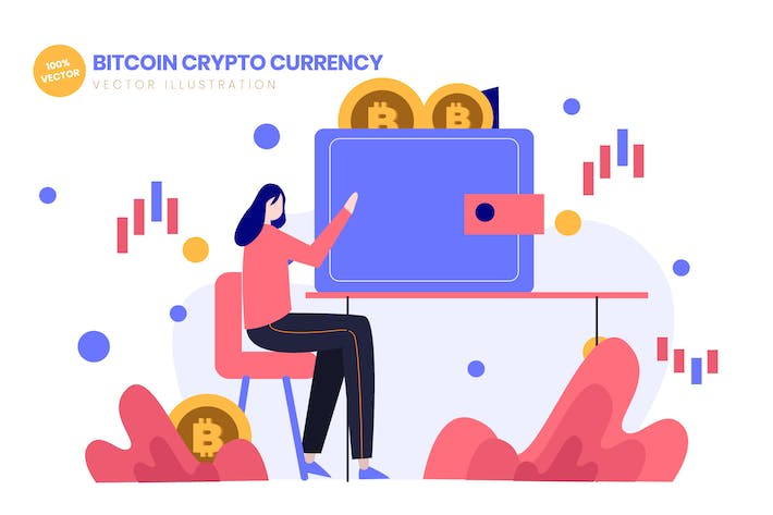 Thumbnail for Bitcoin Crypto Currency Flat Vector Illustration