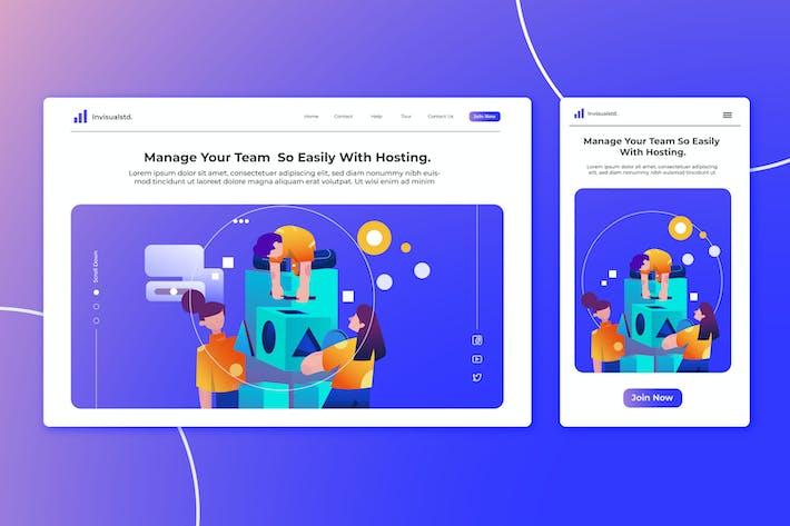 Thumbnail for Team Work - Landingpage Ilustration