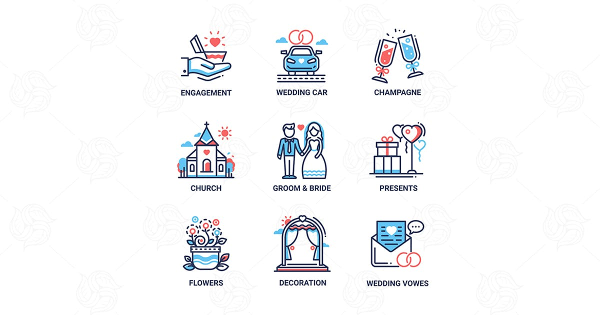 Wedding - modern vector line design icons set by Unknow