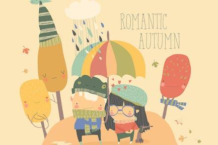 Paar in der Liebe zu Fuß unter Regenschirm. Vektor